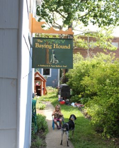 baying hound pub sign
