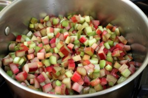 chopped rhubarb for making jam