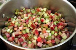 chopped rhubarb for making jam