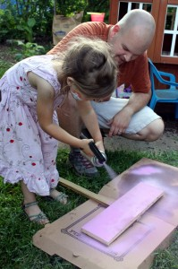 child spray painting