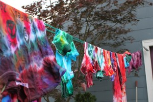 tie dye hanging on the line
