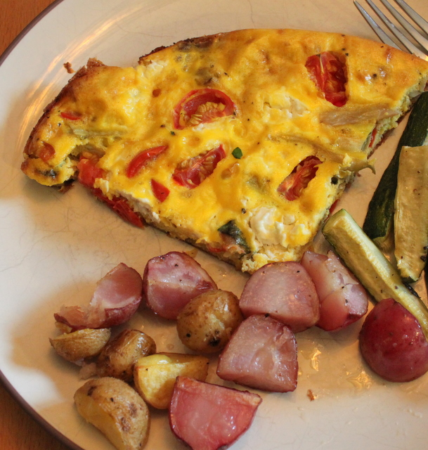 homemade fritatta with homegrown roasted potatos