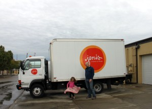 jenis ice cream truck outside production facility