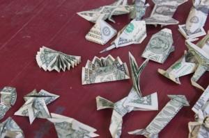 origrami dollar bills
