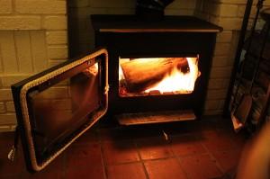 open wood stove