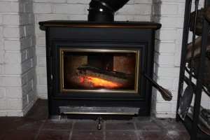 fire in wood stove