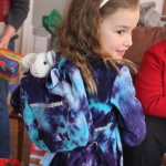 home sewn girls dress and backpack