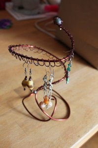 copper wire earring holder