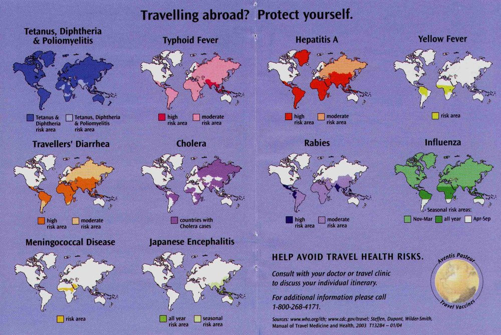 A general map of what diseases pose risk in what areas of the world.