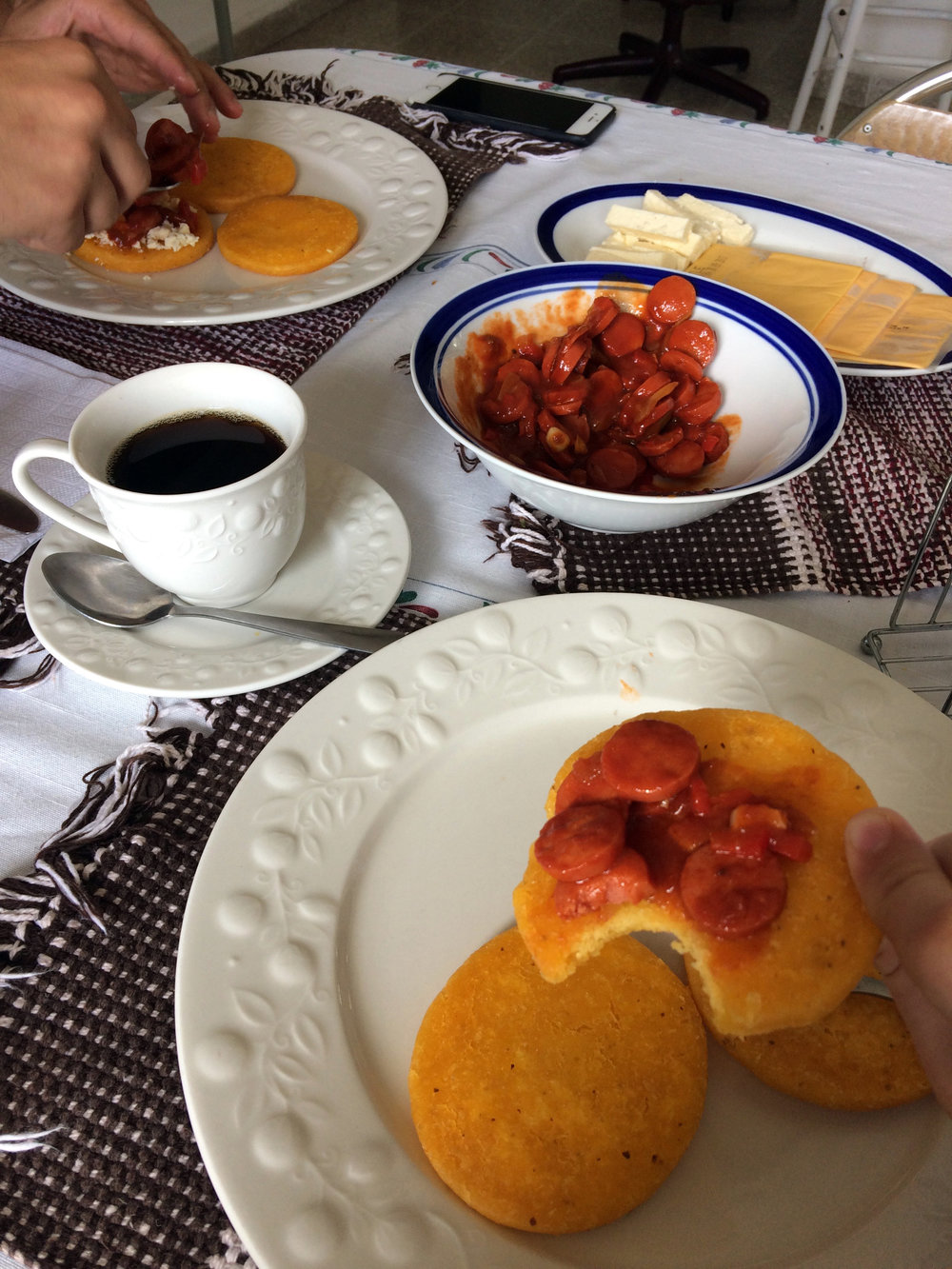 Every few days, Angel would make us  arepas,  a traditional breakfast from his home country of Venezuela.