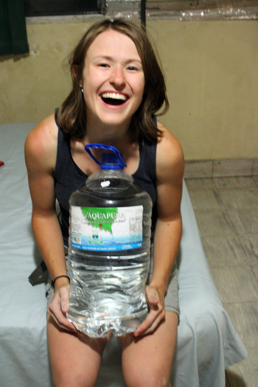 In the dizzying heat of El Salvador, I got a little deliriously excited about this giant water bottle, the size of my torso for just over $1.  No more filtering water for a few days!