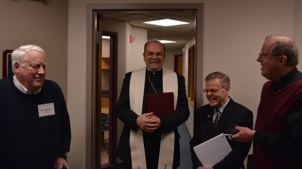 Dr. David Dasher, Bishop Robert J. Cunningham, Dr. Robert Fangio and Tom McGuire
