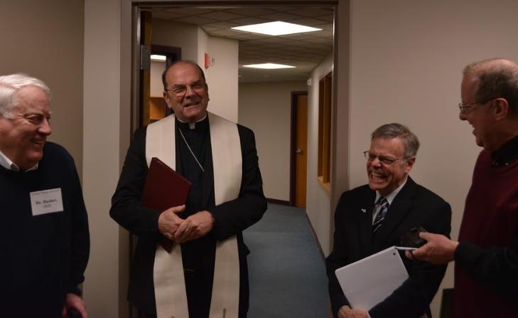 Dr. David Dasher, Bishop Robert J. Cunningham, Dr. Robert Fangio and Tom McGuire