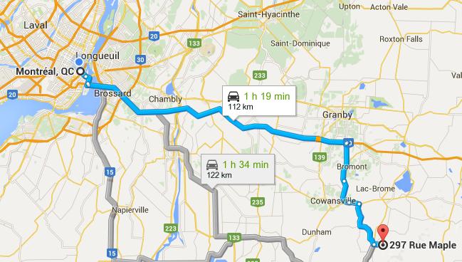 Carte Montréal - Sutton
