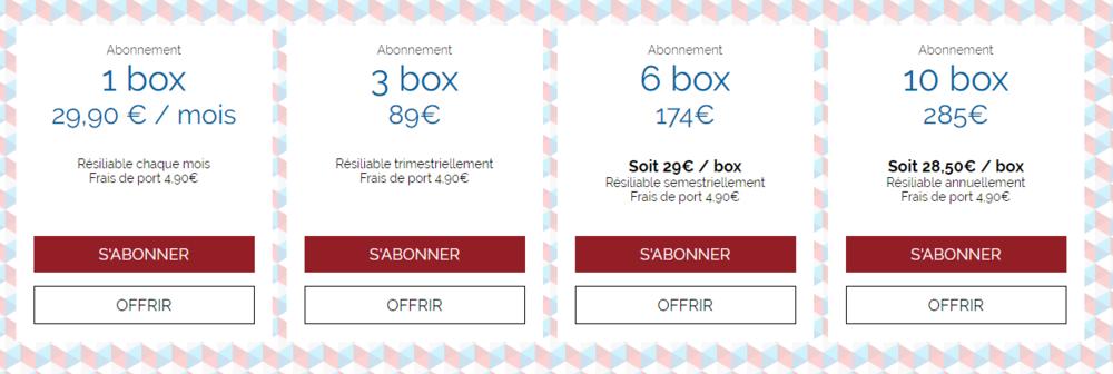 bleu blanc box tarifs abonnement