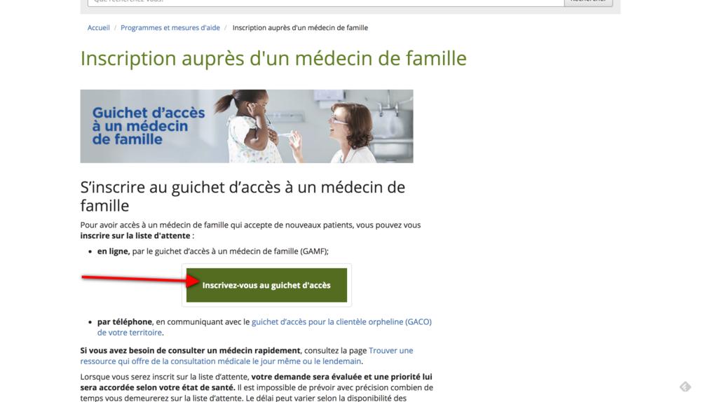 guichet accès inscription liste médecin de famille
