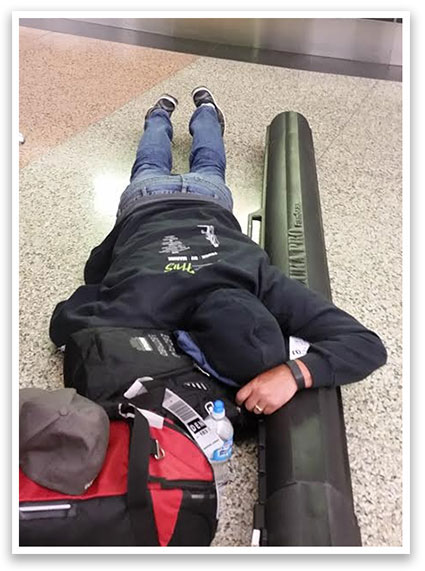Jimmy getting some sleep at the Denver airport