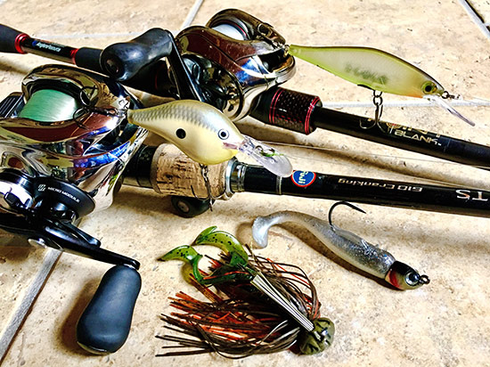 My best lures were (from top to bottom) a Rapala Shadow Shad and DT-6, Hildebrandt Drum Roller, and a 3/4 oz. football jig with Yamamoto Twin Tail trailer.