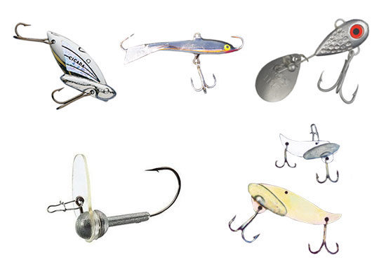 Top, left to right: Cicada, Rapala Jigging Spoon, Little George. Bottom, left to right: Scrounger Jig, Silver Buddy
