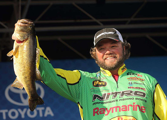 Fellow Raymarine pro Timmy Horton hangs on to win the event. - photo courtesy of BASSMASTER.com
