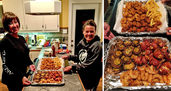Kelly Girouard (l) and Kelley Prince (r)show off our Thursday seafood dinner.