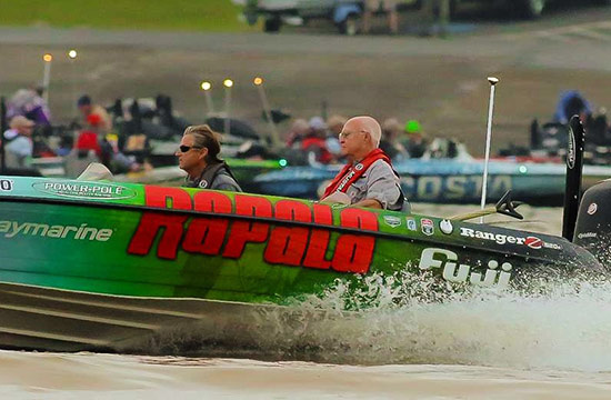 Day-3 blast-off from Lake Dardanelle State Park. - photo by Steve Bowman, courtesy of BASSMASTER.com