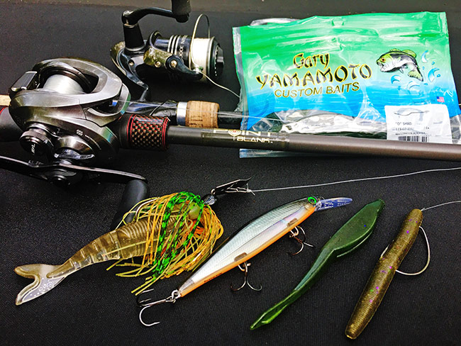 This spread of lures works well in the spring, especially on Toledo Bend.