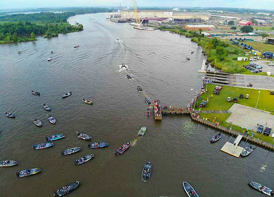 Aerial view of take-off at Sabine River Park with the Intracoastal Waterway is in the distance.