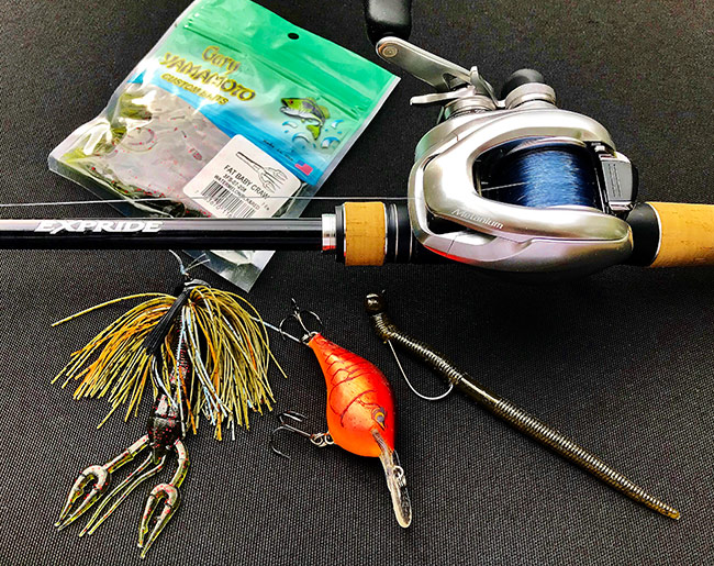 "Here's the lure selection that performed best for me. (L-R) Custom 3/8-ounce jig tipped with Yamamoto Fat Baby Craw, Rapala DT-6 in Red Demon pattern, and 1/8-ounce VMC Shaky Head with Yamamoto 5"" Thin Senko in green pumpkin."