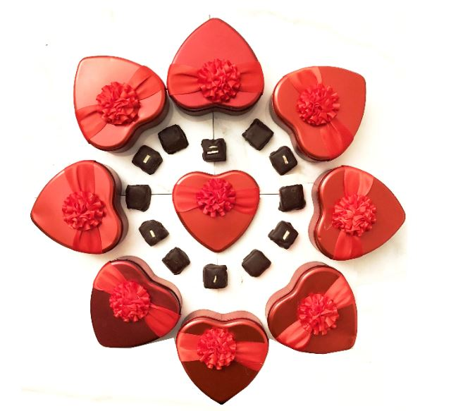 Chocolates shipped in a heart-shaped box