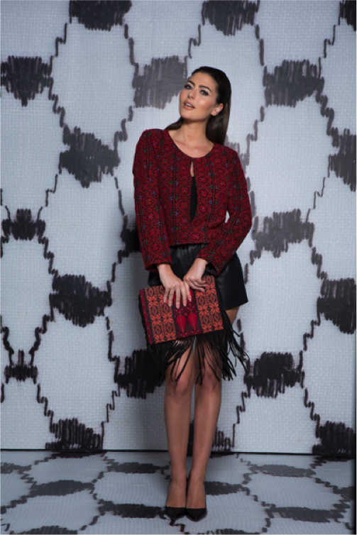 Layla Crop Jacket, and Aamna Clutch from Ayah Tabari's ' Palestine ' collection