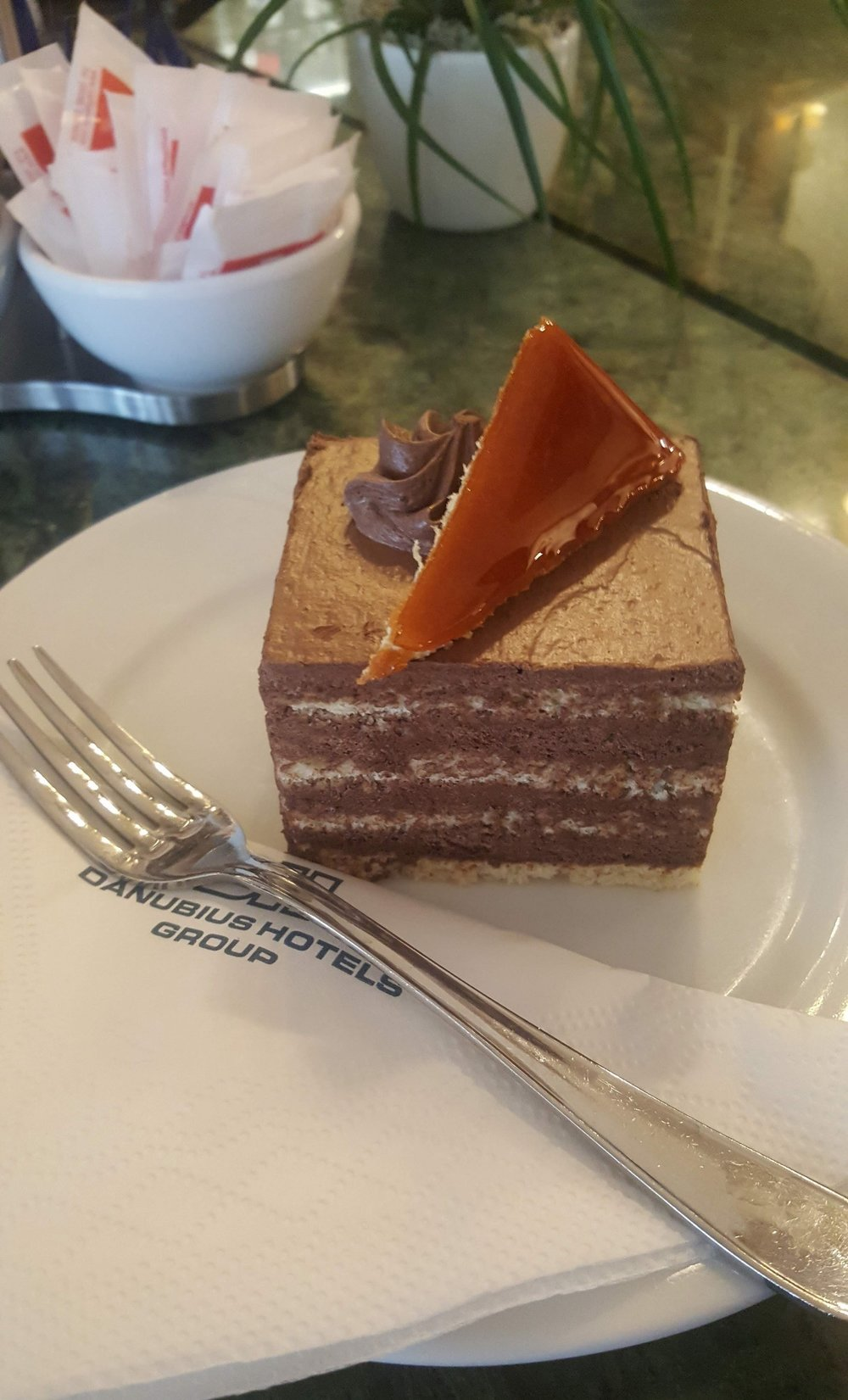 Pictured: A slice of Dobos cake. Photographer: Ruxandra Chitac.