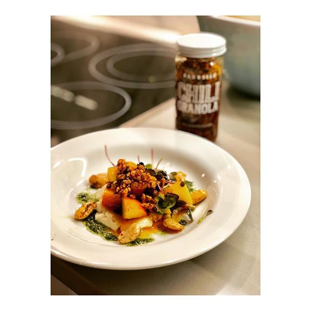 @pcortez made a mouthful: Sweet Nectarines marinated in white balsamic vinegar, Chili Granola oil olive oil, Micro Greens with a purée of taleggio cheese, basil oil, and garlic😛🔥#damn #GranolasEvilTwin #ChiliGranola