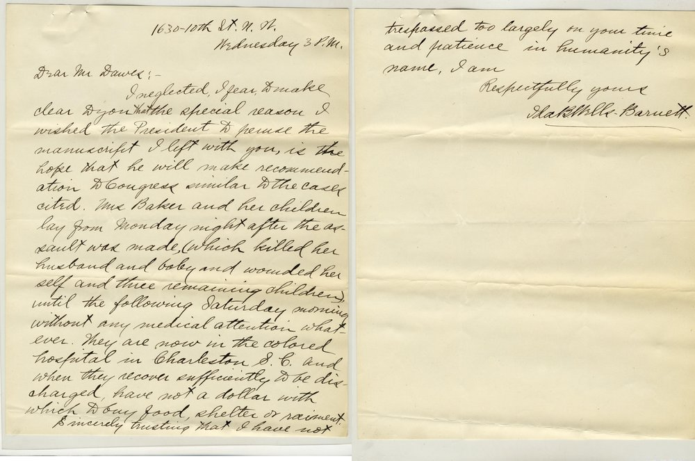 A letter by Ida B. Wells