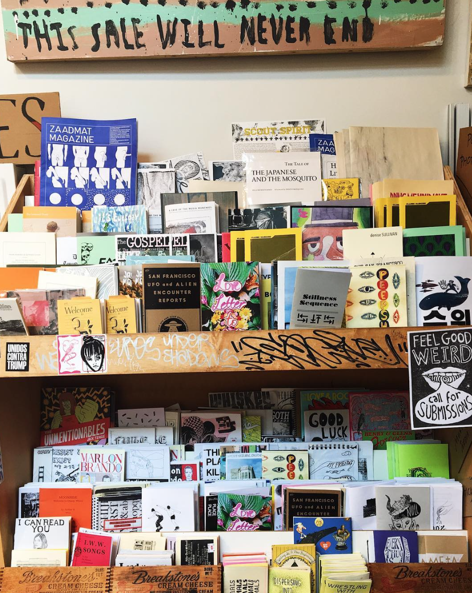 Can you find her zine on the shelf?