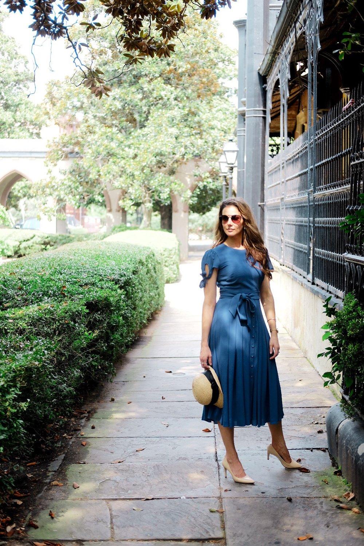 Blue Dress in Savannah Georgia