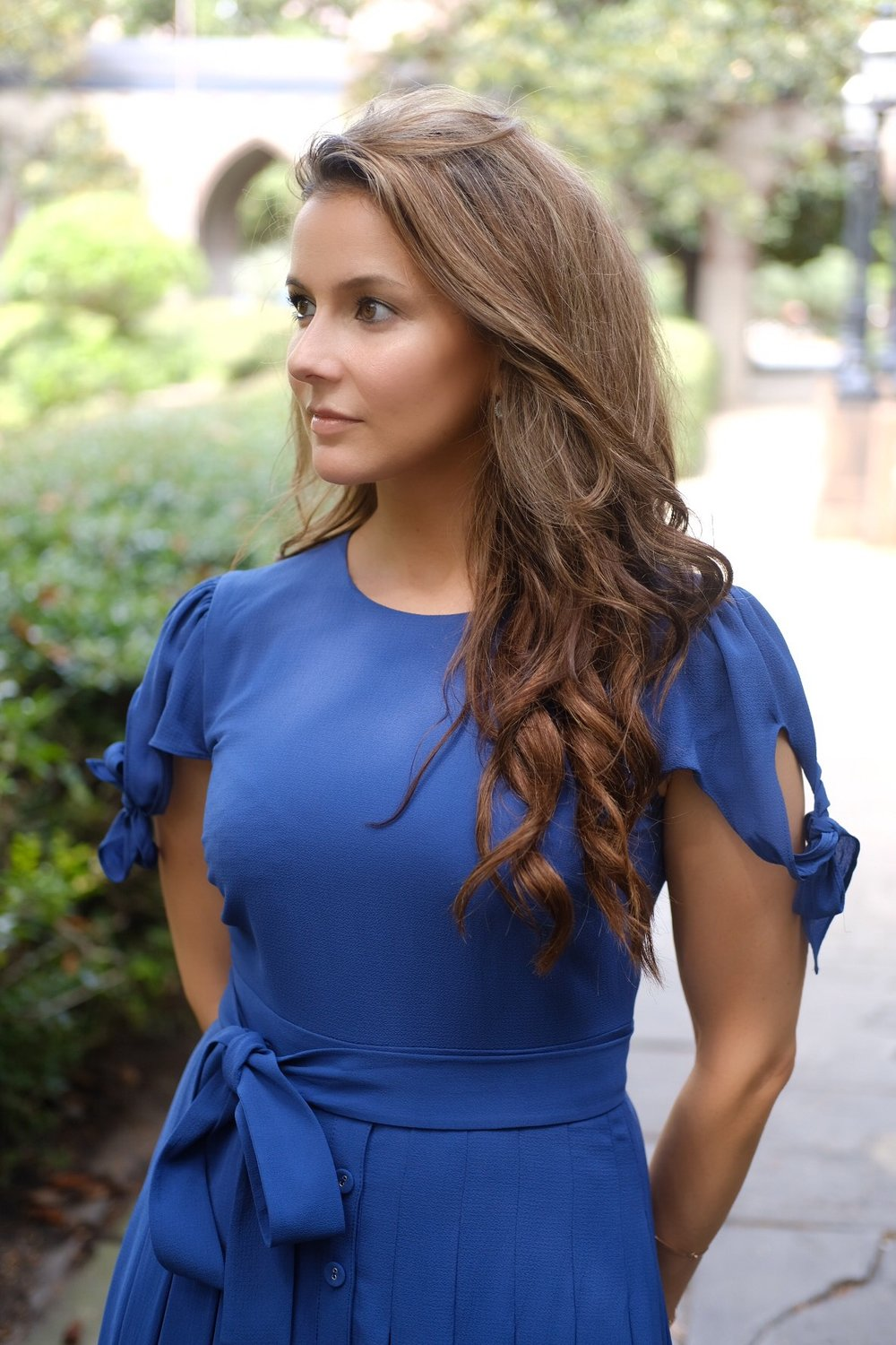 The Bette day dress by Gal Meets Glam on Brenna Michaels in Savannah Georgia
