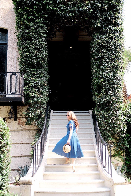 Blue Dress on Brenna Michaels in Savannah Georgia Genteel and Bard