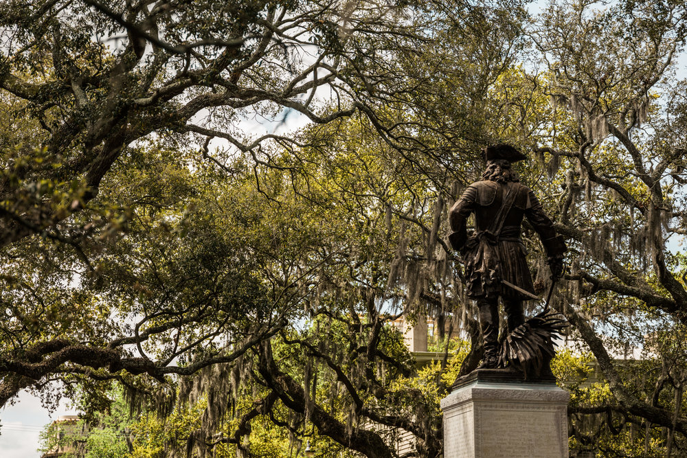 James Oglethorpe's monument looks out over Chippewa Square in Historic Savannah