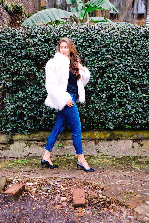 Benna Lauren Michaels in faux fur coat in Savannah GA | Genteel & Bard