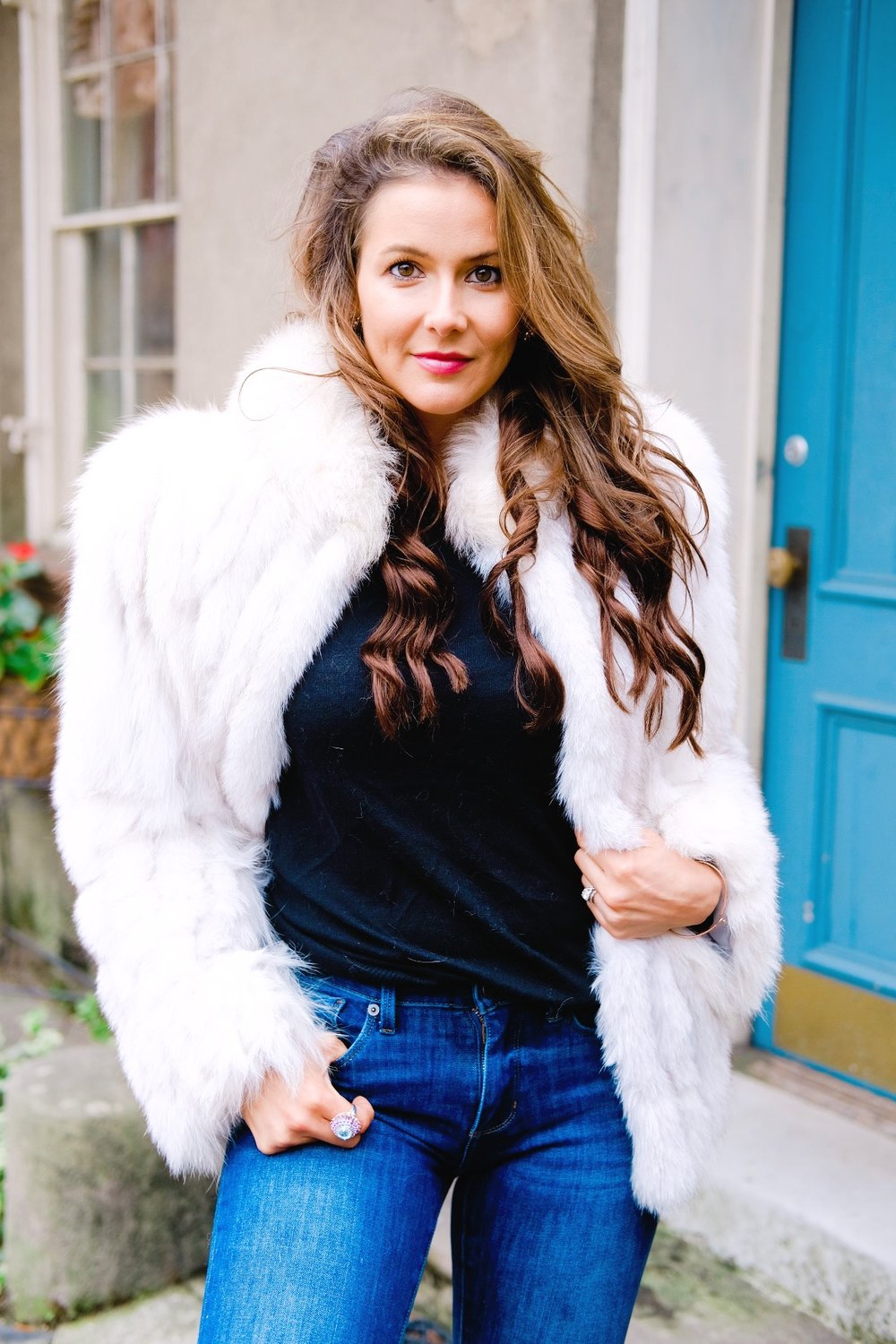 Brenna Lauren Michaels in faux fox fur coat and vintage cocktail ring