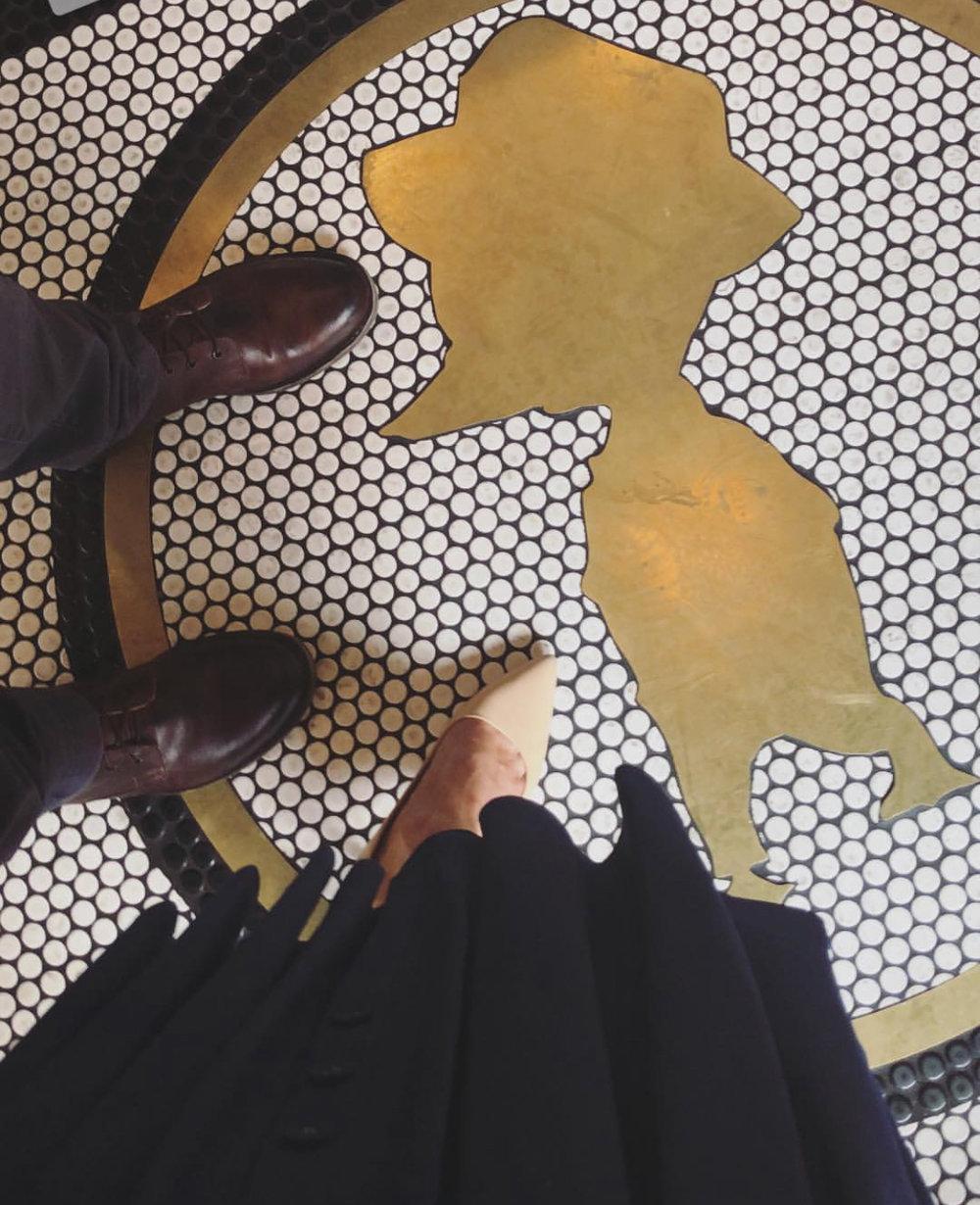 The floor mosaic at Little Duck Diner in Savannah GA