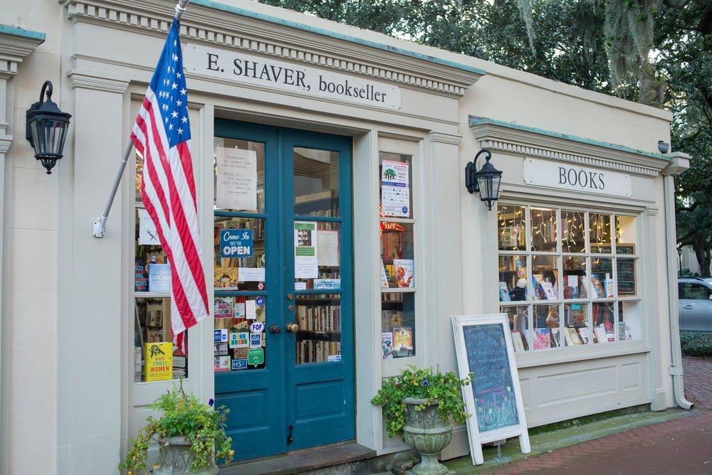 Outside of E. Shaver Bookseller in Savannah GA