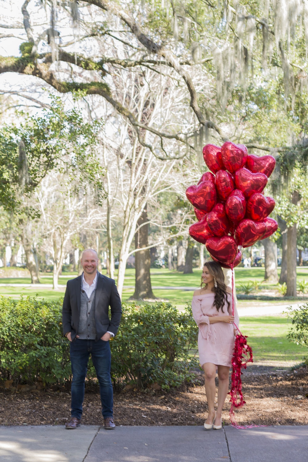 T.C. & Brenna in Forsyth Park on VDay in Savannah GA