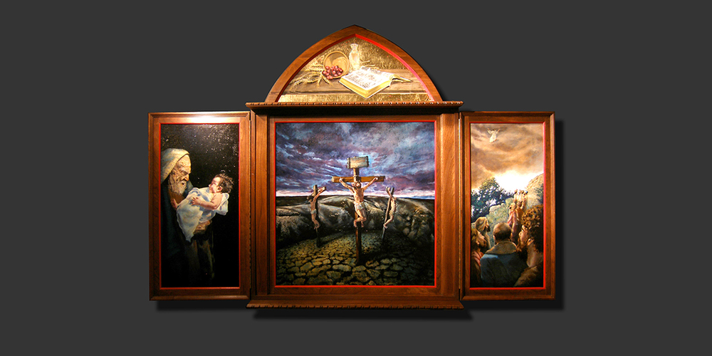 """Life of Christ"" triptych, opened, St. Mark's Lutheran Church, Lincoln, NE"