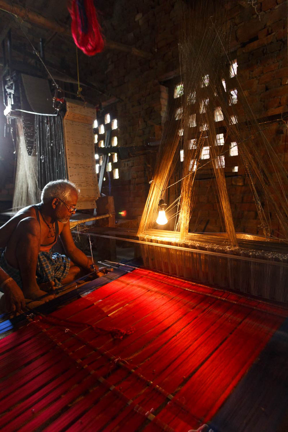 Traditional silk weaving is still done on hand looms