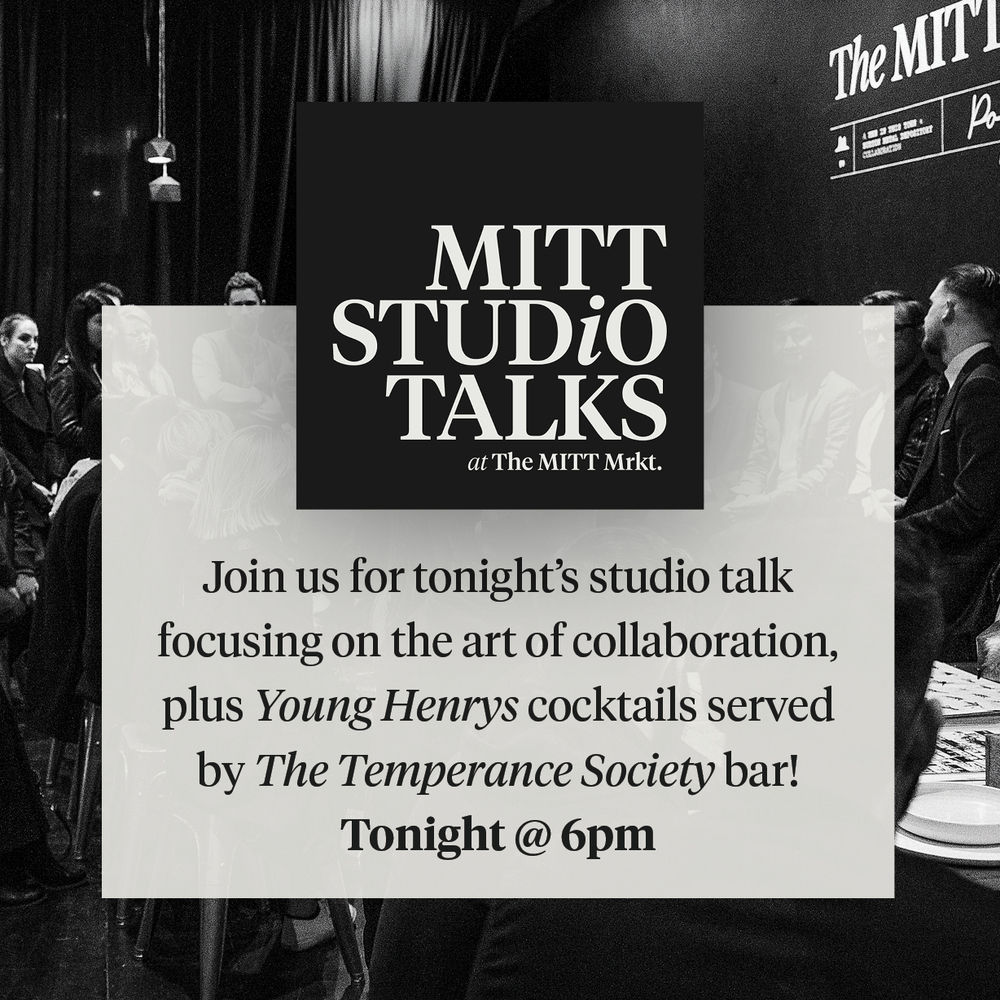 This month's MITT Studio Talks will be focusing on the art of collaboration. Clara Ho from Burton Metal Depository and I will be sharing our story along with Tom Fereday and Leighton Clarke of Mister Wolf. The Temperance Society will also be serving up Young Henrys cocktails and beer, which you really won't want to miss. Head over to our Facebook page to RSVP if you're in Sydney, hope to see you there!