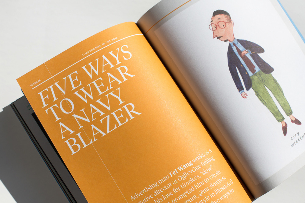 An illustrated look at wearing a navy blazer, in the new issue of MITT magazine. Available at The MITT Mrkt.