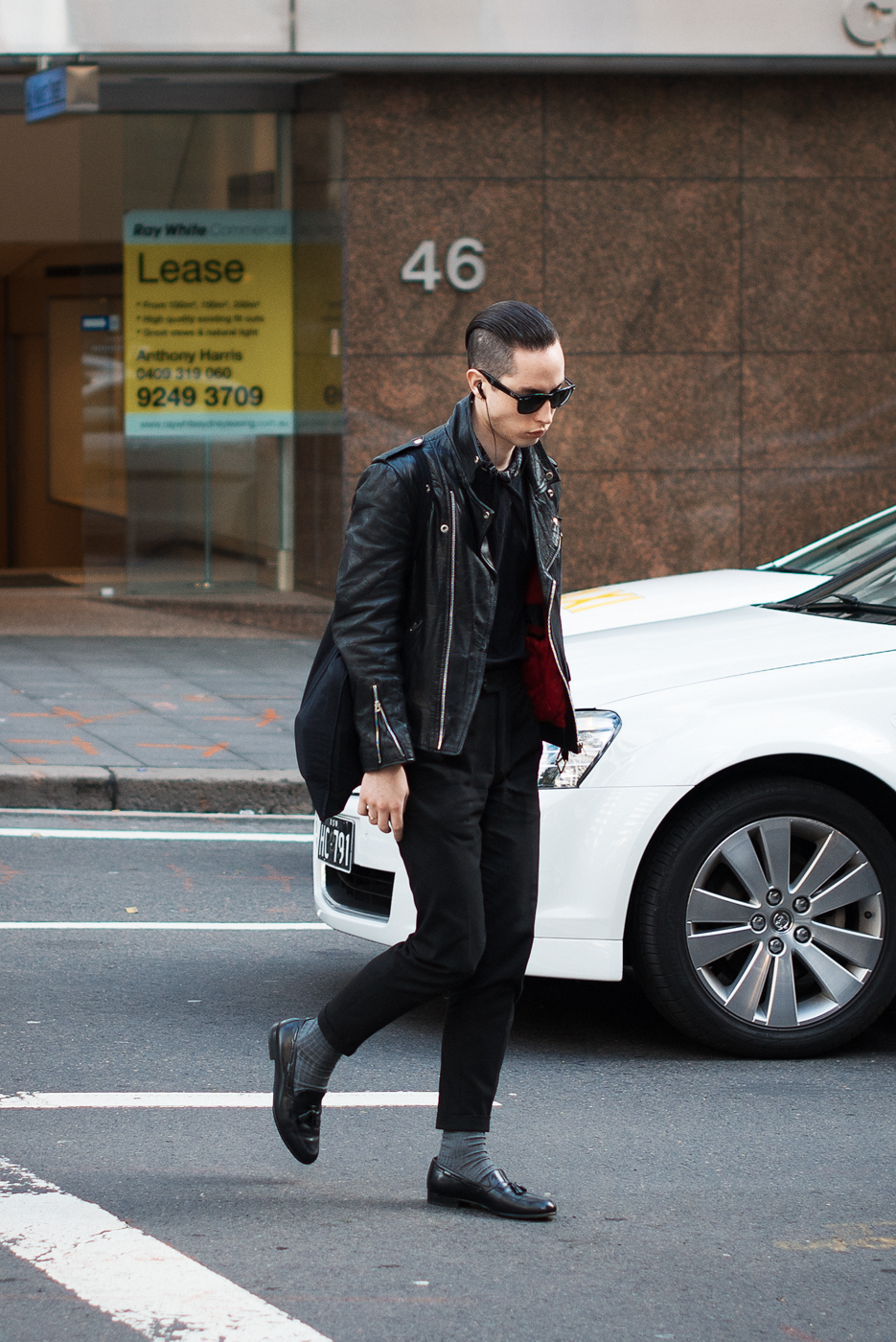 In line. Similar look: Club Monaco Leather Biker Jacket.