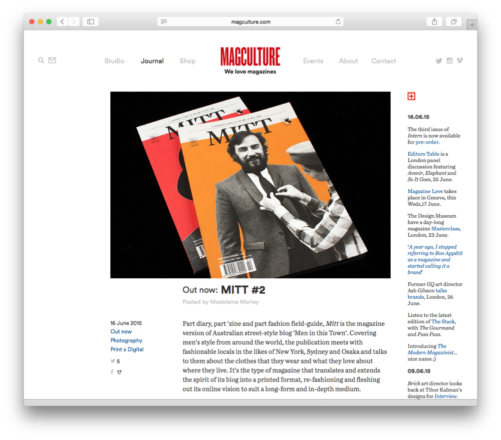 Huge honour to have had MITT magazine reviewed by magCulture this week! Issue's 1 and 2 available now at The MITT Mrkt.